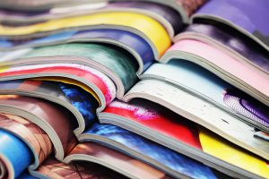 Stack of paper magazines