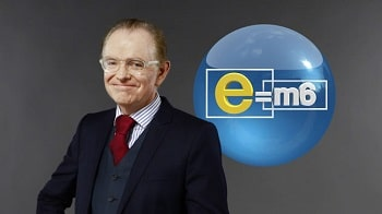 Mac Lesggy in front of E=M6 logo